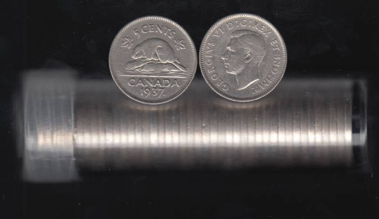 1937 Canada 5 Cents - Roll 40 Coins in Plastic Tube