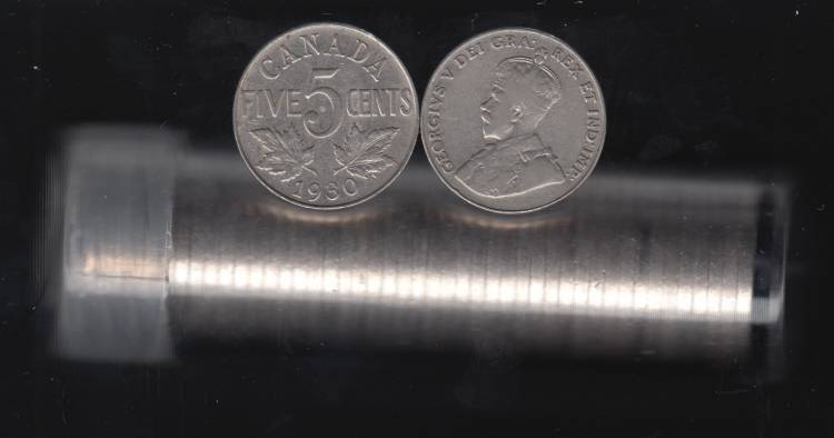 1930 Canada 5 Cents - Roll 40 Coins in Plastic Tube