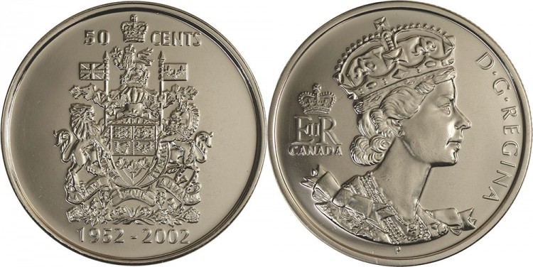 1952 2002 Canada 50 Cents - BU ROLL 25 Coins