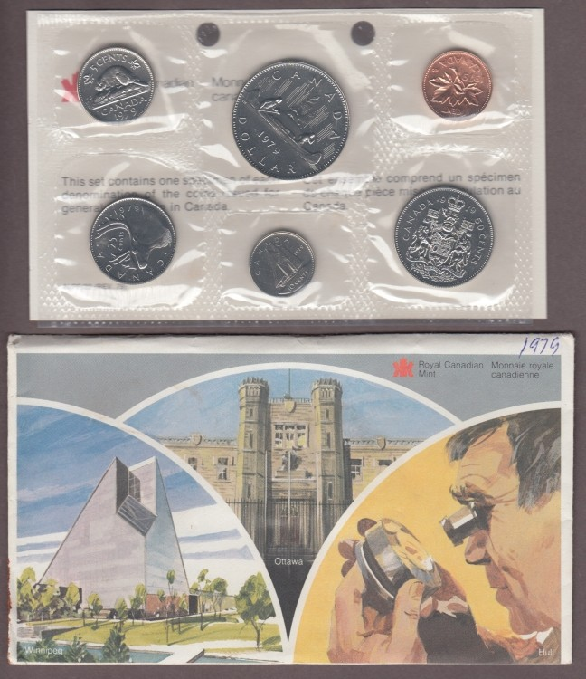 1979 BRILLIANT UNCIRCULATED SET *POINTED BUST 50 CENTS*