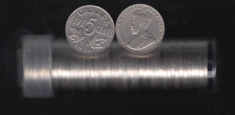 1934 Canada 5 Cents - Roll 40 Coins in Plastic Tube