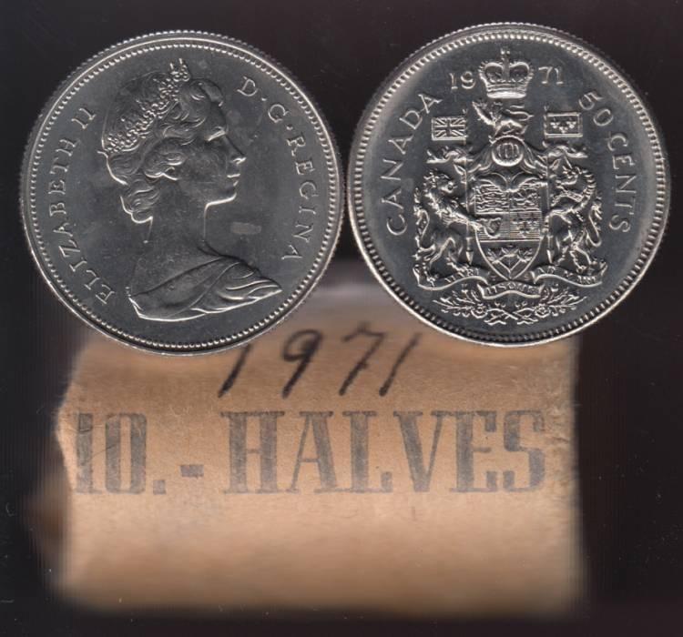 1971 Canada 50 Cents - Half Dollar - BU ROLL 20 Coins - UNC