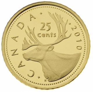 2010 - 25¢ - Fine Gold Coin - Caribou - TAX Exempt