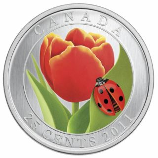 2011 - 25 Cent - Coloured Coin - Tulip with Ladybug