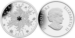 2013 - $20 - 1 oz. Fine Silver Coin - Winter Snowflake