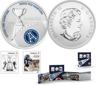 2012 - The Toronto Argonauts - 25-Cent Coloured Coin and Stamp Set