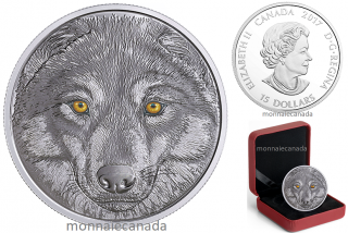 2017 - $15 - Pure Silver Glow-in-the-Dark Coin - In The Eyes Of The Wolf