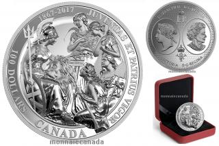 2017 - $100 - 10 oz. Pure Silver Coin - Canadian Confederation Medals: Juventas et Patrius Vigor.