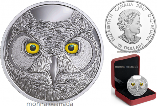 2017 - $15 - Pure Silver Glow-in-the-Dark Coin - In The Eyes Of The Great Horned Owl