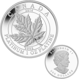 2014 - $300 - 1 oz. Pure Platinum Coin - Maple Leaf Forever