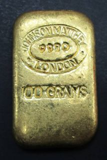 RARE Johnson Matthey London Poured Bar 100 Grams  Fine Gold .999 - AVAILABLE IN STORE ONLY - NO TAX