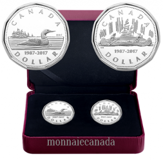 2017 - $1 Pure Silver 2-Coin Set - 30th Anniversary of the Loonie