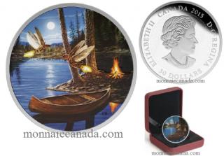 2015 - $30 - 2 oz. Fine Silver Glow-in-the-Dark Coin – Moonlight Fireflies