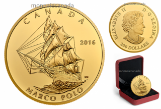 2016 - $200 - 1 oz. Pure Gold Coin – Tall Ships Legacy: Marco Polo