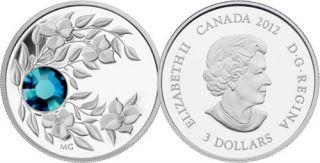 2012 - $3 - Pierre de naissance décembre (zircon) - Pièce en argent fin