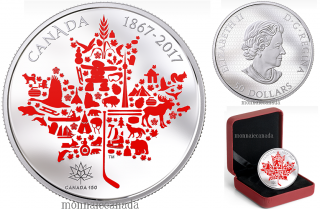 2017 - $50 - 5 oz. Pure Silver Coloured Coin - Canadian Icons