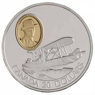 1994 Canada $20 Dollars Sterling Silver - Powered Flight - Vickers Vedette