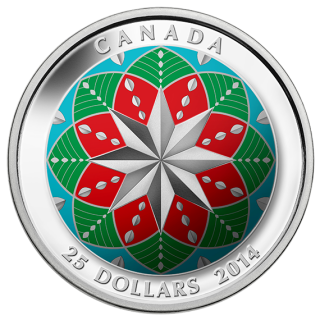 2014 - $25 - Fine Silver Ultra-High Relief Coloured Coin - Christmas Ornament