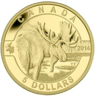 2014 - $5 - Pure Gold Coin - The Moose