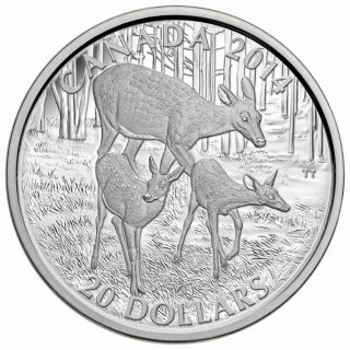 2014 - $20 - 1 oz. Fine Silver - The White-Tailed Deer - A Doe and Her Fawns