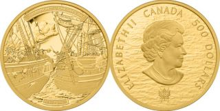 2013 - $500 - 5 oz Pure Gold Coin - HMS Shannon & USS Chesapeake