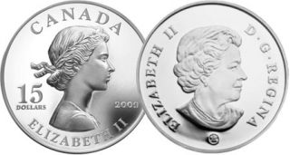 2009 - $15 - Sterling Silver Coin – Queen Elizabeth II
