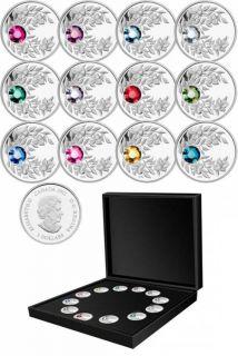 2012  - $3 - Fine Silver 12 Coin Set - Birthstone - Mintage: 200