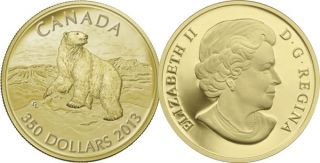 2013 - $350 - Pure Gold Coin - Polar Bear