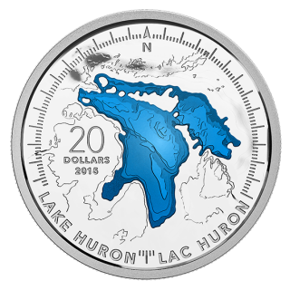 2015 - $20 - 1 oz. Fine Silver Coin - Lake Huron