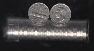 1951 Canada 5 Cents - Comm. - 40 Coins in Plastic Tube