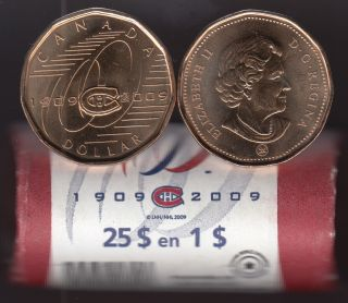 2009 Montreal Canadiens Centennial Special Wrap One Dollar Coin Roll