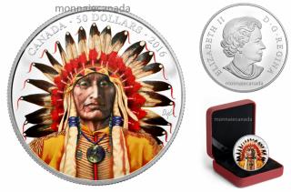 2016 - $50 - 5 oz. Pure Silver Coloured Coin – Wanduta: Portrait of a Chief