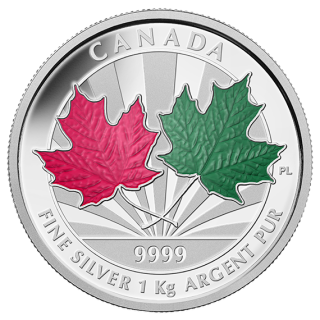 2014 - $250 - Fine Silver One Kilogram Coin - Maple Leaf Forever