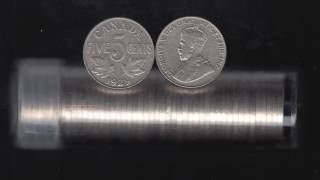1929 Canada 5 Cents - Roll 40 Coins in Plastic Tube