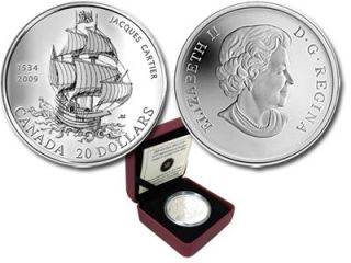 2009  - $20 - 475th Anniversary of Jacques Cartiers in Canada Fine Silver