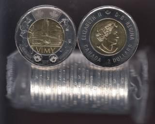 2017 Canada $2 Dollars - The Battle of Vimy Ridge - BU ROLL 25 Coins - UNC