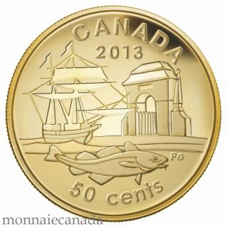 2013 - 50 cents - 1/25 oz Pure Gold Coin - 300th Anniversary of Louisbourg