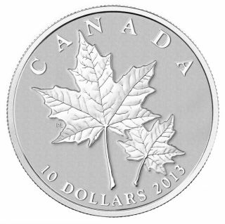 2013 - $10 - 1/2 oz Fine Silver Coin - Maple Leaf
