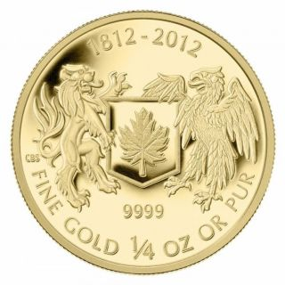 2012 Canada $10 Dollars Fine Gold Coin - War of 1812 - 1/4 OZ