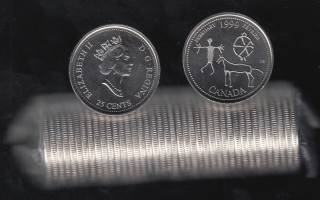 1999 Canada 25 Cents February - BU ROLL 40 Coins - UNC