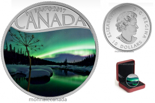 2017 - $10 - Canada's 150th Coin Series - Aurora Borealis at McIntyre Creek - 1/2 oz. Pure Silver