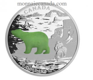 2015 - $20 - 1 oz. Fine Silver Coin with Jade Insert – Canadian Icons: Polar Bear