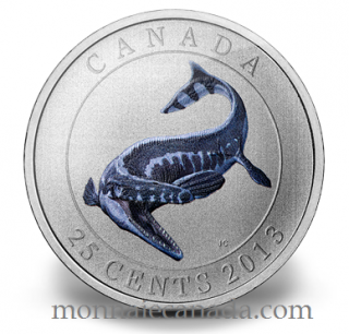 2013 - 25 Cents - Coloured Coin - Tylosaurus Pembinensis - Prehistoric Creatures