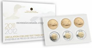 2012 - Circulation Coins and Test Tokens Set - RARE 2011 $1 & $2 SECURITY