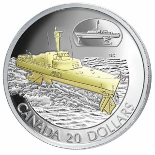 2003 $20 Sterling Silver Gold Plated - HMCS Bras d'or - Transportation Series