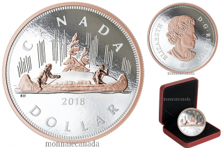 2018 - $1 - 5 oz. Pure Silver Coin with Rose Gold Plating - Big Coin Series: Voyageur Dollar