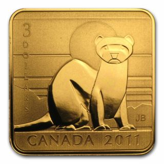 2011 - $3 - Sterling Silver Gold Plated Coin - Black Footed Ferret
