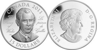 2011 - $15 - Sterling Silver Coin - H.R.H. The Prince of Wales (Prince Charles)