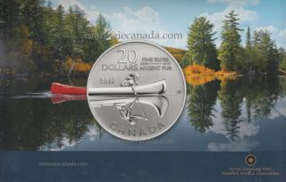2011 - $20 for $20 - Canada Dollars Fine Silver 99,99% - Canoe - NO TAX
