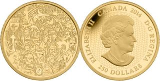 2014 - $250 - 2 oz. Pure Gold Coin - Canada Through the Eyes of Tim Barnard